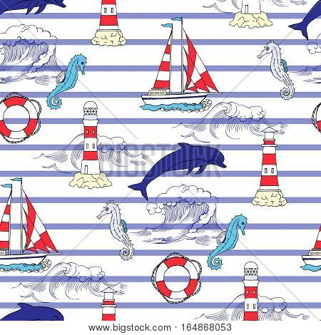Nautical seamless pattern with ships  seahorse and dolphins. Hand drawn elements for summer holidays.Travel, sea and ocean. Vector Illustration