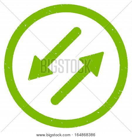 Diagonal Exchange Arrows rubber seal stamp watermark. Icon vector symbol with grunge design and unclean texture. Scratched eco green ink sign on a white background.
