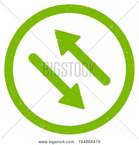 Diagonal Flip Arrows rubber seal stamp watermark. Icon vector symbol with grunge design and dust texture. Scratched eco green ink sticker on a white background.