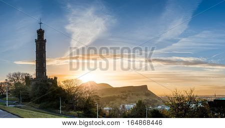 Calton Hill: Nelson monument tower at sunrise