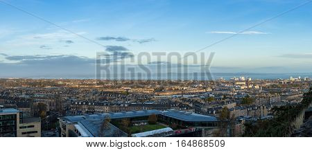 Edinburgh cityscape and skyline as seen from Calton Hill. Panoramic view