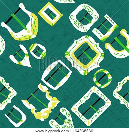 Vector seamless pattern of different vintage decorative metal buckles for belts and clothing. Thin line buckles on turquoise background.