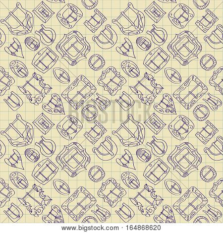 Vector seamless pattern of different vintage decorative metal buckles for belts and clothing. Blue thin line on a background of graph paper of a school notebook.
