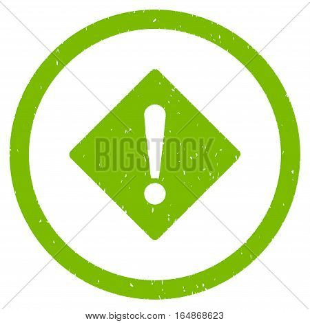 Error Rhombus rubber seal stamp watermark. Icon vector symbol with grunge design and dust texture. Scratched eco green ink sign on a white background.