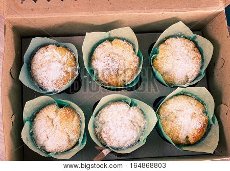 Close up of six fresh baked muffins in blue paper molds with icing powder inside a cardboard box