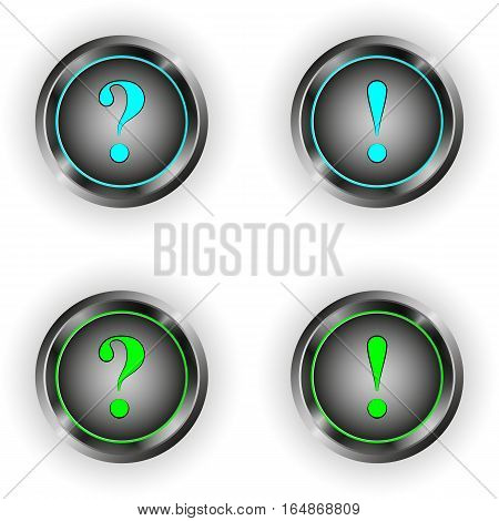 vector set of round buttons with the symbol of a question and an exclamation