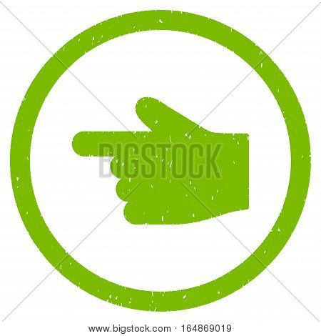 Index Finger Left Direction rubber seal stamp watermark. Icon vector symbol with grunge design and corrosion texture. Scratched eco green ink emblem on a white background.