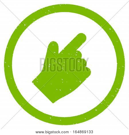 Index Finger Right Up Direction rubber seal stamp watermark. Icon vector symbol with grunge design and corrosion texture. Scratched eco green ink sticker on a white background.