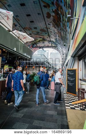 Rottedam The Netherlands - August 6 2016: The Markthal is a residential and office building with a market hall underneath. It was designed by architectural firm MVRDV
