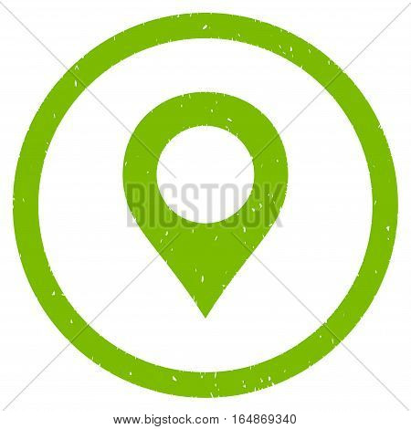 Map Marker rubber seal stamp watermark. Icon vector symbol with grunge design and dirty texture. Scratched eco green ink sign on a white background.