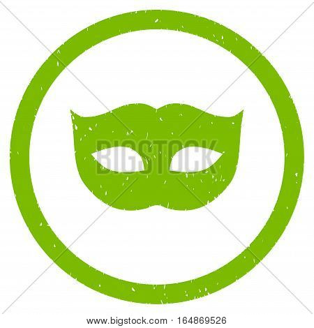 Privacy Mask rubber seal stamp watermark. Icon vector symbol with grunge design and corrosion texture. Scratched eco green ink emblem on a white background.
