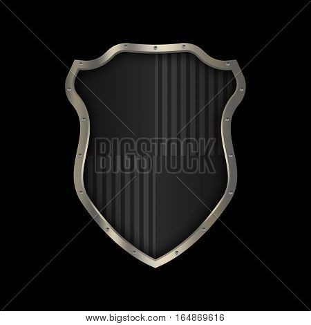 Medieval black shield with chrome riveted border on black background for the design.