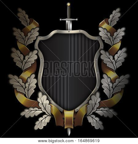 Medieval black shield with chrome riveted bordersword and oak wreath with gold ribbon on black background.