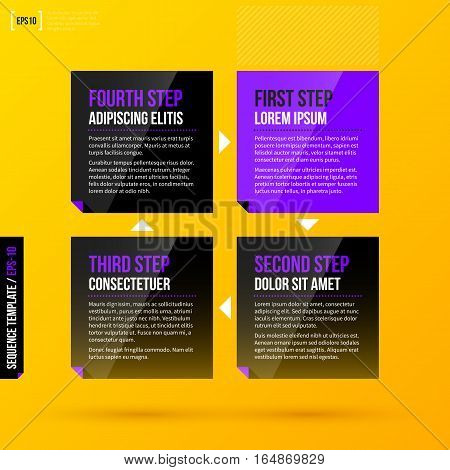 Cycle Template With 4 Steps On Bright Yellow Background. Eps10