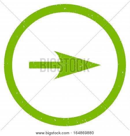 Sharp Right Arrow rubber seal stamp watermark. Icon vector symbol with grunge design and unclean texture. Scratched eco green ink sign on a white background.