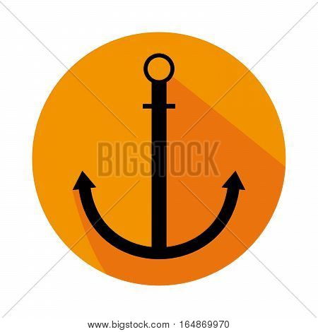 Flat Icon With Anchor Long Shadow For Travel