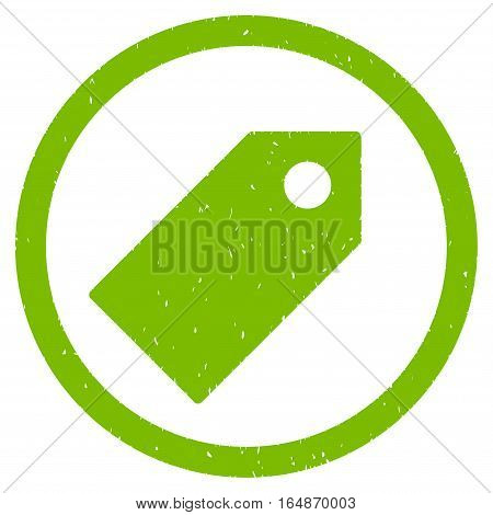 Tag rubber seal stamp watermark. Icon vector symbol with grunge design and corrosion texture. Scratched eco green ink emblem on a white background.