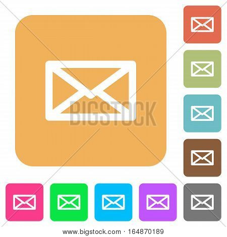 Message flat icons on rounded square vivid color backgrounds.