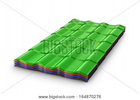 stack of colored corrugated sheet isolated on white background. 3D illustration