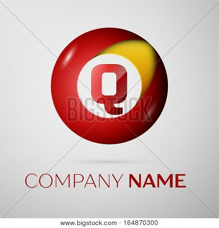 Letter Q vector logo symbol in the colorful circle on grey background. Vector template for your design