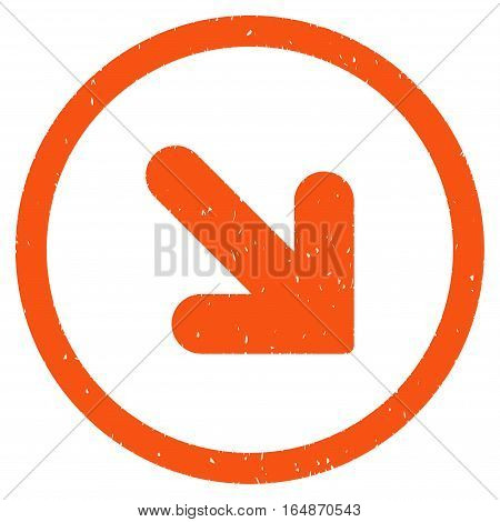 Arrow Down Right rubber seal stamp watermark. Icon vector symbol with grunge design and dirty texture. Scratched orange ink sticker on a white background.