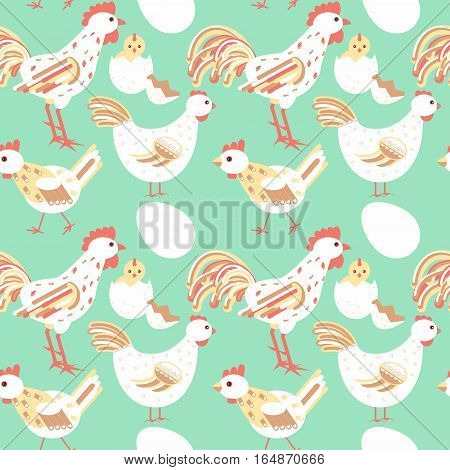 Chicken Family Seamless Pattern