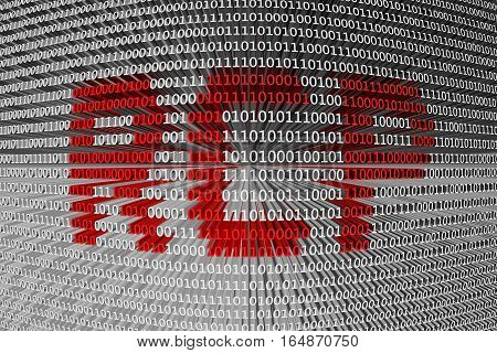 RCP in the form of binary code, 3D illustration