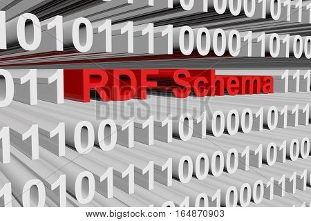 RDF Schema in the form binary code 3D illustration