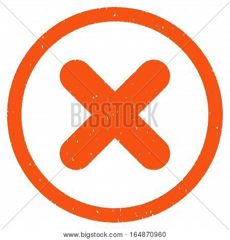 Cancel rubber seal stamp watermark. Icon vector symbol with grunge design and corrosion texture. Scratched orange ink sticker on a white background.