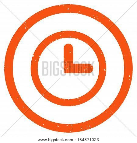 Clock rubber seal stamp watermark. Icon vector symbol with grunge design and corrosion texture. Scratched orange ink emblem on a white background.