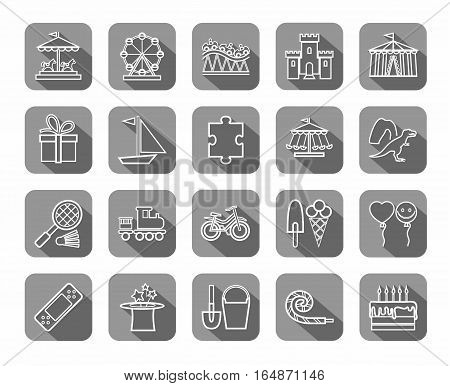 Children's games and entertainment, icons, grey, flat, line, vector. Vector icons of items and objects for children. Children's rest. White linear image on a gray background with shadow.