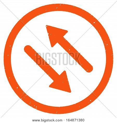 Diagonal Flip Arrows rubber seal stamp watermark. Icon vector symbol with grunge design and unclean texture. Scratched orange ink sign on a white background.