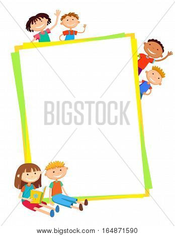 illustration of kids bunner around vertical banner behind poster vector isolated background
