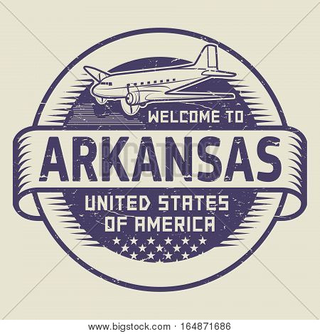 Grunge rubber stamp or tag with airplane and text Welcome to Arkansas United States of America vector illustration