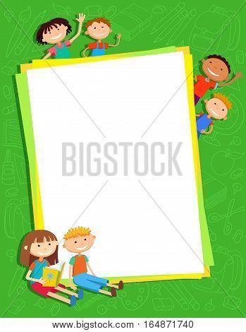 illustration of kids bunner around vertical banner behind poster vector green background