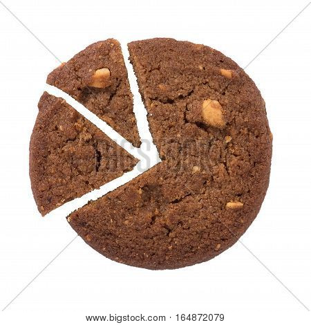 Pie Chart Icon Made From Cookie, Isolated On White Background.