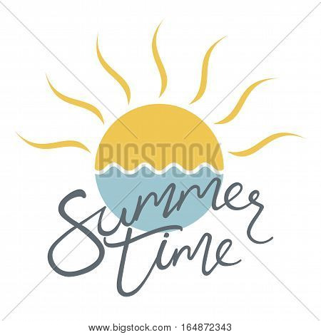 Summer time. Vector illustration of sun icon and sea. Logo design for banner poster flyer cover brochure.