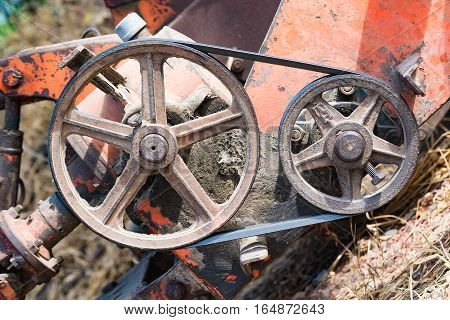 Belt And Pulley On The Motor On The Vehicle Part.