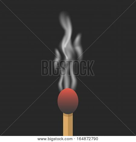 burned match with smoke. concept of inspiration, destruction, failure, setback, exhausted, weariness, impotence. isolated on black background. flat style trend modern design eps10 vector illustration