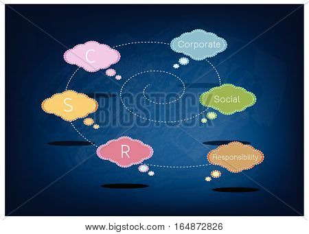 Colorful of Speech Bubbles with CSR or Corporate Social Responsibility Concepts on Black Chalkboard