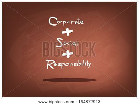 Business Concepts CSR Abbreviation or Corporate Social Responsibility on Brown Chalkboard.