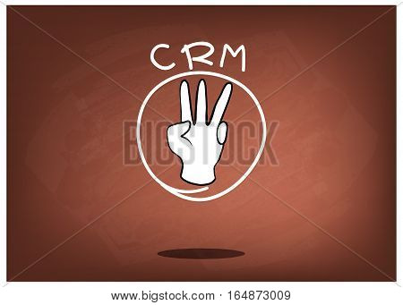 Business Concepts Hand Sign with CRM or Customer Relationship Management Concepts on Brown Chalkboard.