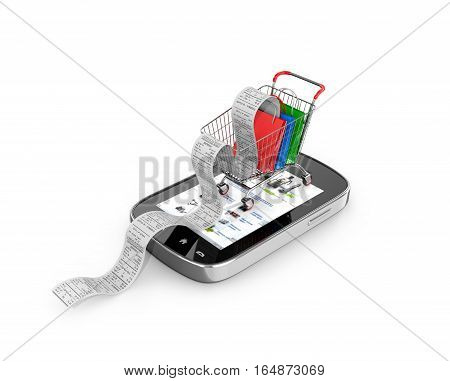 The concept of purchase. Smartphone on which stands the truck with packages and check.