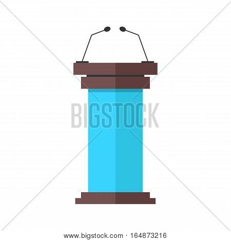 blue and brown tribune icon with microphones. concept of speaking, voting, leadership, discussion, public performance. isolated on white background. flat style trend modern design vector illustration