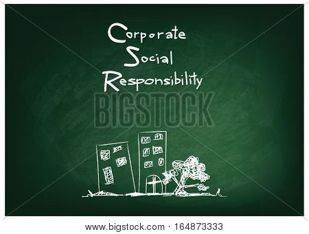 Business Concepts CSR Abbreviation or Corporate Social Responsibility on Green Chalkboard