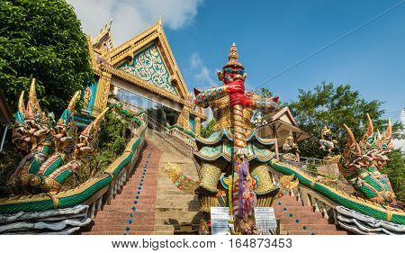 Rang Hill Temple ( Wat Khao Rang ) with blue sky in phuket Thailand