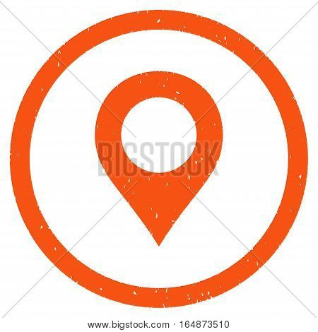 Map Marker rubber seal stamp watermark. Icon vector symbol with grunge design and dust texture. Scratched orange ink sticker on a white background.