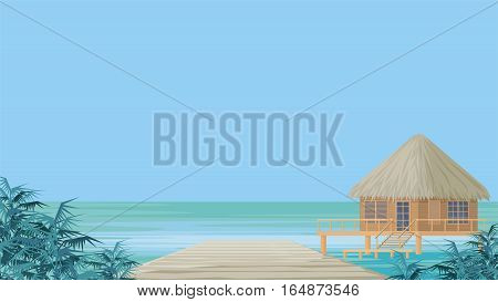 Bungalow on the ocean surrounded by tropical plants. South sea landscape. Vector background