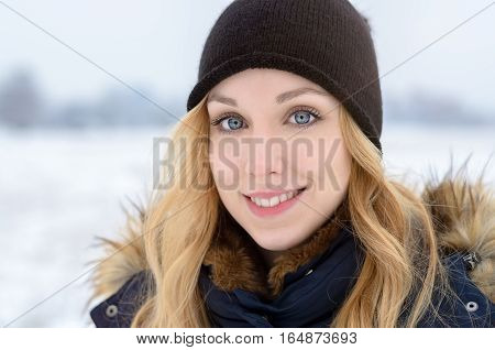 Pretty Young Teenage Woman Outdoors In Winter