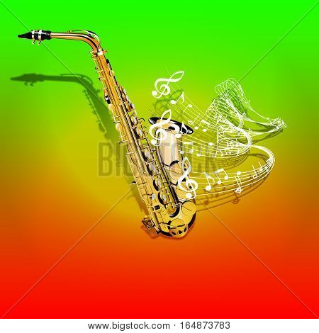Vector illustration of musical background Saxophone and waves of musical notes on a colored textural background. You can use as a template billboards, advertising or separately.